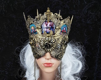 READY TO SHIP / Blind mask, church window mask, stain glass, cathedral headpiece, gothic headpiece, gothic crown, goth mask, medusa
