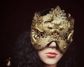 "Snake Blind mask ""Medusa Princess"", metal mask with pearls and snakes, medusa costume"
