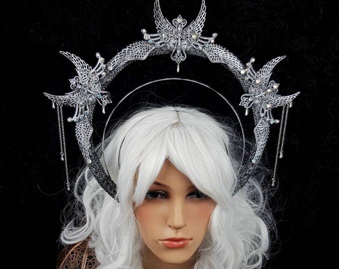 """Heiligenschein """" ice queen """"  Haarreif, Halo, Gothic Crown, gothic headpiece, goth headpiece, holy crown, goth crown / Made to order"""
