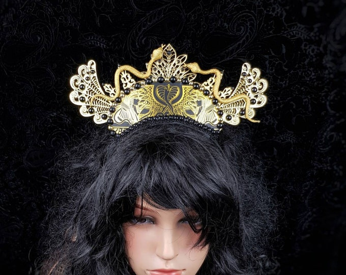 """Ready to ship / Crown """" Anubis """", Pharao, snake crown, Cleopatra Crown, Medusa Costume,  pagan, gothic headpiece, goth crown,  blind mask"""