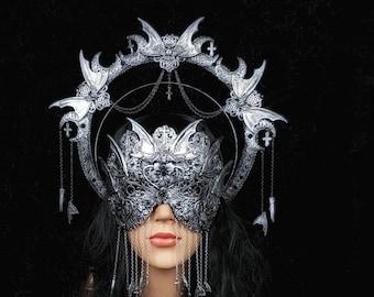 II.Set Vampire Halo, Heiligenschein Haarreif & blind mask, gothic headpiece, gothic halo, holy crown, goth crown / Made to order