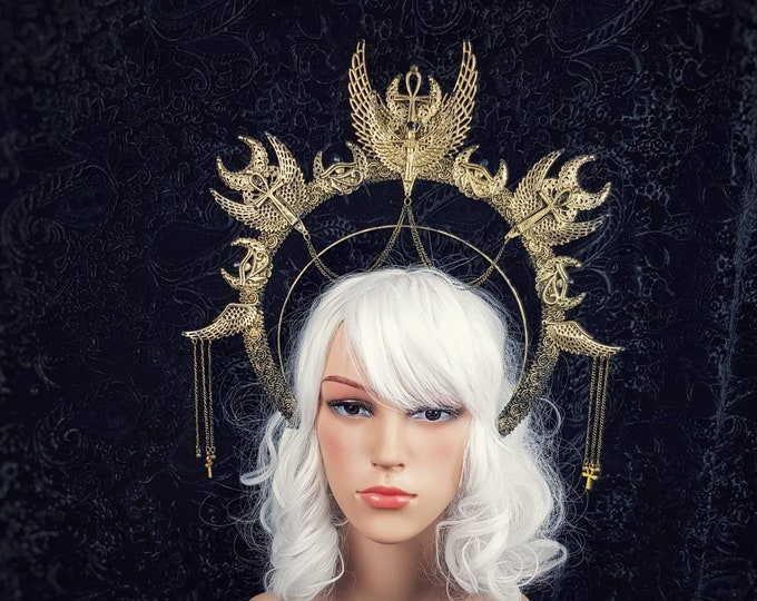 "Halo "" Isis "" Heiligenschein Haarreif, medusa costume, ankh, cleopatra crown, gothic crown, gothic headpiece, goth crown / Made to order"