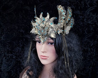 """Crown """" Butterfly """", pagan crown, vikings, celtic, cosplay, goth crown, gothic headpiece, medusa costume, blind mask /  Made to order"""