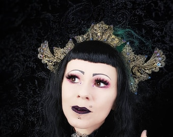 "Gothic crown ""The Wings of Art Nouveau"" , Gothic Headpiece, Victorian Headpiece, available in different colors/ Made to order"
