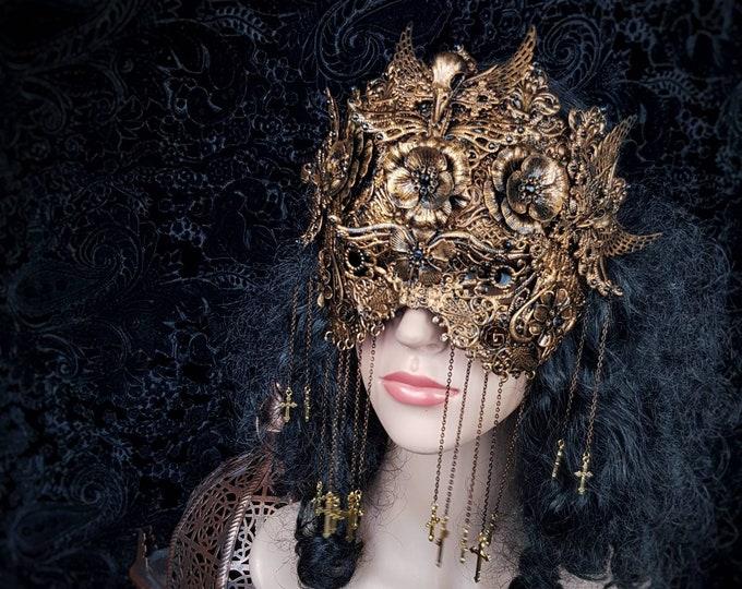 Holy crow, blind mask, fantasy mask, ravenskull, gothic mask, gothic headpiece, medusa costume, gothic crown / MADE TO ORDER