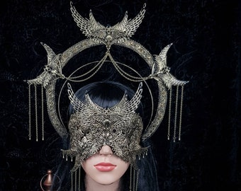 II.Set Holy Crow halo headband & blind mask, gothic headpiece, gothic halo, holy crown, goth crown, medusa costume / Made to order