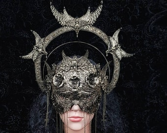 I.Set Holy Crow, halo headpiece, blind mask, gothic headpiece, fantasy mask, goth crown, gothic crown, different colours/MADE TO ORDER