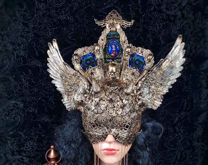 Lucifer, blind mask headpiece, cathedral headpiece, stained glass, Heiligenschein, gothic crown, gothic headpiece, goth crown/ Made to order