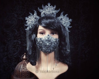 """Set """"Jeanne d'Arc"""" crown Headpiece & Mouth mask, savings price Headdress and Kiefermask, different colors available/ MADE TO ORDER"""