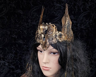 """Crown """"King of the owls"""", pagan crown, vikings, valkyrie, cosplay, goth crown, gothic headpiece, medusa costume, blind mask /  Made to order"""