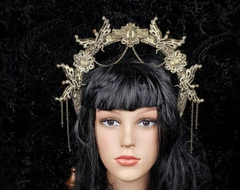 Small Medusa Scarab Halo, Cleopatra costume,snake crown, Gothic Crown, gothic headpiece, snake crown/ Made to order
