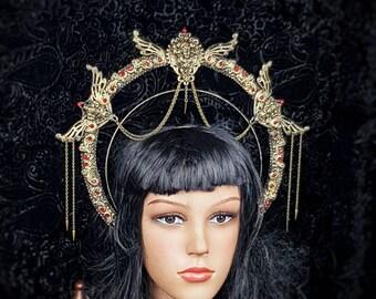 Art Nouveau, Heiligenschein Haarreif, Halo, Gothic Crown, gothic headpiece, gothic headdress, holy crown, goth crown / Made to order