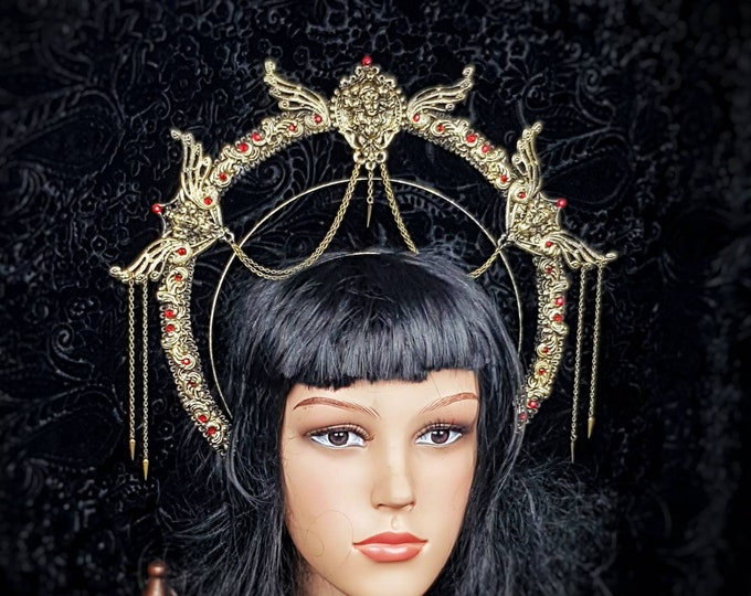 Art Nouveau, Heiligenschein Haarreif, Halo, Gothic Crown, gothic headpiece, gothic headdress, holy crown, goth crown / Made to order