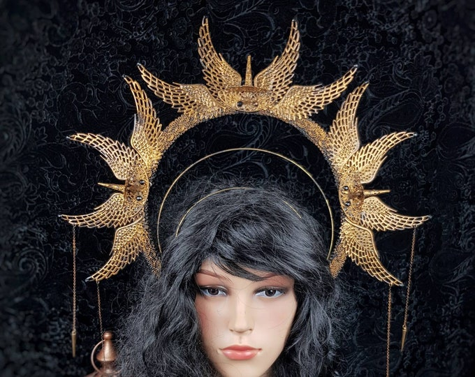 "Heiligenschein "" Spike "", Halo, Gothic Crown, gothic headpiece, medusa costume, cosplay, goth crown, blind  mask, pagan / Made to order"