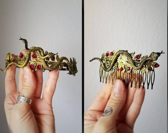 READY TO SHIP / Set Medusa Tiara & 1 Hair Comb, Cleopatra costume,snake crown, Gothic Crown, gothic headpiece, medusa costume, blind mask