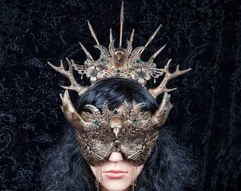 II. Set Morrigan Crown & blind mask Cernunnos, Antlers,headpiece, Pagan crown, goth crown, medusa, fantasy, cosplay, Raven / Made to order