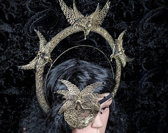 "Set ""Holy Crow"", halo headpiece and eyepatch, blind mask, gothic headpiece, fantasy mask, goth crown, gothic crown, MADE TO ORDER"