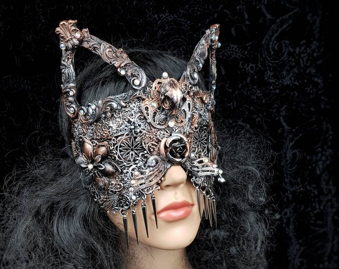 """Blind mask, cat mask """"Mina Baroque """", cathedral, gothic headpiece, gothic crown, medusa, fantasy mask, pagan, cosplay / Made to order"""
