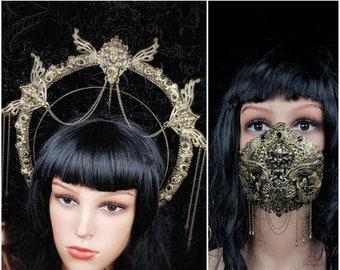 III.Set Art Nouveau, Heiligenschein Haarreif & Jaw mask, gothic headpiece, gothic halo, holy crown, goth crown / Made to order