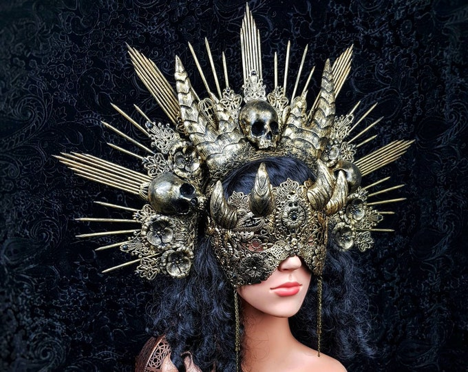 "Set ""Holy & Hell"" Gothic Headpiece, blind mask and finger claws, goth crown, gothic crown, horns headpiece, medusa costume / Made to order"