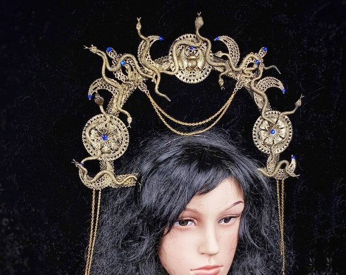 """Medusa Halo """"Anubis"""" Cleopatra, Medusa Costume, pharao, pagan, gothic headpiece, cosplay, goth crown, blind mask  /Made to Order"""