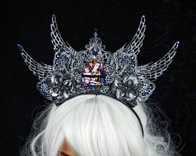 """Crown """" holy wings """" , Stain glass, cathedral headpiece, blind mask, gothic crown, gothic headpiece, cosplay, goth crown / Made to order"""