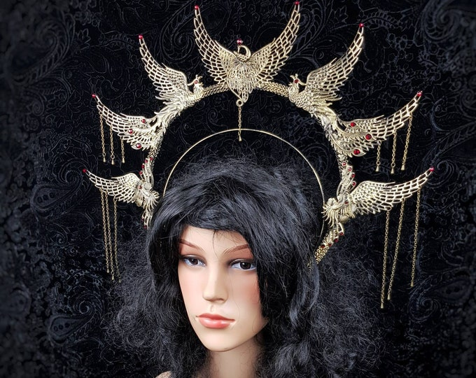 "Heiligenschein "" Phoenix "", Halo, Gothic Crown, gothic headpiece, medusa costume, cosplay, goth crown, blind  mask, pagan / Made to order"