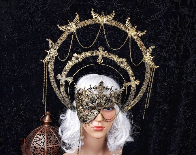 Featured listing image: Set II Cathedral, halo & half mask, blind mask, gothic headpiece, holy crown, goth crown, medusa costume, / Made to order