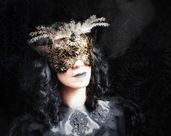 """Couture metal blindmask """"The rise of the phoenix"""" in different colours and antique look, available/MADE TO ORDER"""