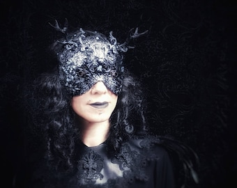 """Burlesque Antlers blind mask """"Lady rococo,"""" Pagan Couture, metal mask with antlers, in different colors available/MADE TO ORDER"""