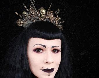 Princess of Medusa, Skull & Snake Halo Headpiece in bronze gold or silver black finish, snakes, etc. Skulls headdress/MADE TO ORDER