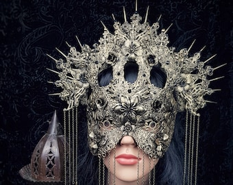 II.Cathedral Set of Headpiece and Mask, blind mask, angel crown, Cathedral mask, gothic crown,gothic headpiece, cathedral headpiece