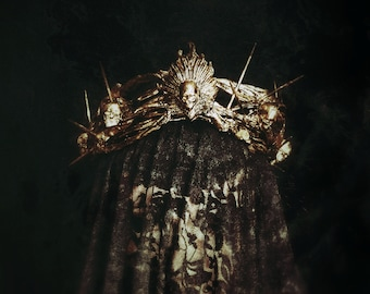 Skull Thorns Crown, headpiece with black finish, Gothic skull thorns crown with black finish/ Made to order & Made to measure