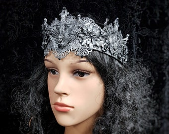 Goth crown, gothic headpiece, available in different colors, Gothic Krone, Goth headpiece / MADE TO ORDER