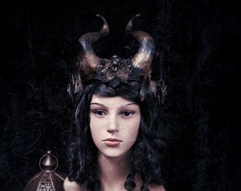 Devil horns, Pagan headpiece with feather, stripped horns and a little skull head in bronze black with roses, READY TO SHIP