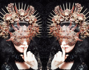 Phoenix Set-Halo headpiece & blind mask in colours different with resin skulls/MADE TO ORDER, only 1 set available
