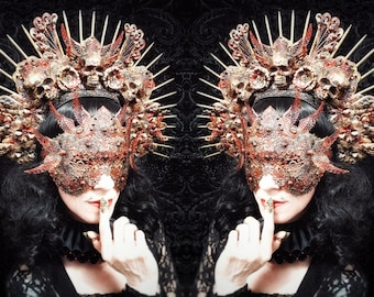 Phoenix Set-Halo headpiece & blind mask in different colours with resin skulls/MADE TO ORDER, only 1 set available