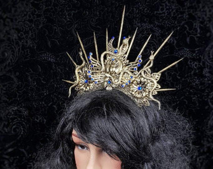 Anubis crown , snake crown, Cleopatra, Medusa Costume, pagan crown, gothic headpiece, cosplay, goth crown /Made to Order