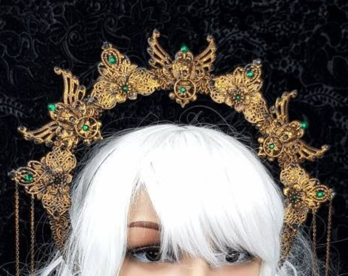 "Heiligenschein "" II. King Lionheart, Halo,  Crown, Gothic Headpiece, gothic crown, holy crown, cathedral,  goth crown / Made to Order"