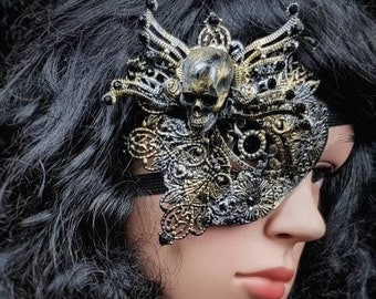 "Blind mask, Eye Patch "" king of skulls "", Metall Augenklappe, fantasy mask, gothic Headpiece, different colours available, Antique look"