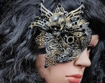 "Blind mask, Eye Patch ""King of skulls"", metal eye patch, fantasy mask, different colors available, Antique look"