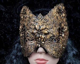 "Blind mask, cat mask ""flower"", fantasy mask, blind mask, metal mask, available in different colors"