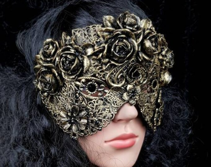 blind mask, Mask of roses, gothic Headpiece, gothic mask, fantasy mask, goth crown,  medusa costume/ Made to order
