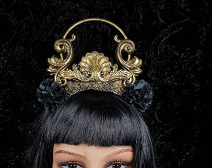 READY TO SHIP/ Holy Baroque Crown, gothic headpiece, gothic crown, halo crown, blind mask,  medusa costume,  cosplay, fantasy headpiece