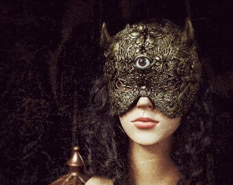 Eye of the devil, horns blind mask, demon mask, devil mask with horns, available in different colors/ MADE TO ORDER