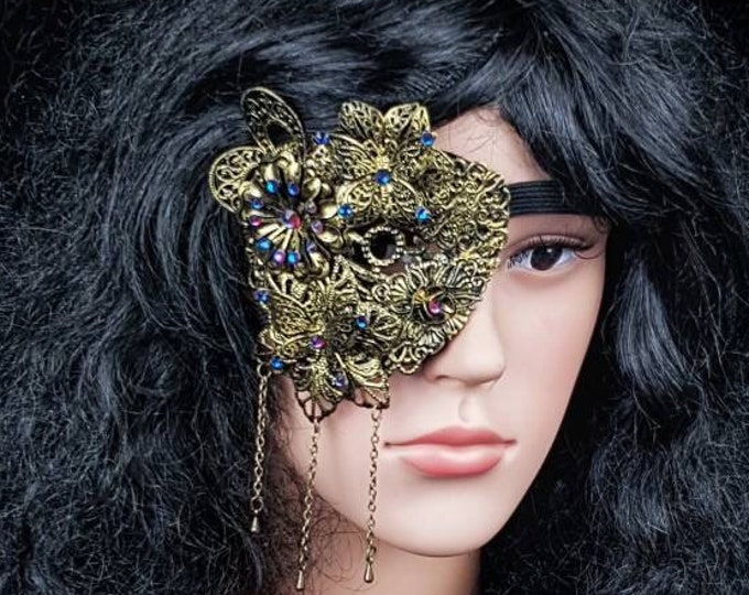 """READY TO SHIP / Eye Patch """" Fairy Butterfly """"Metal Eye patch, gothic headpiece, goth crown, blind mask, medusa costume, cosplay, pagan"""