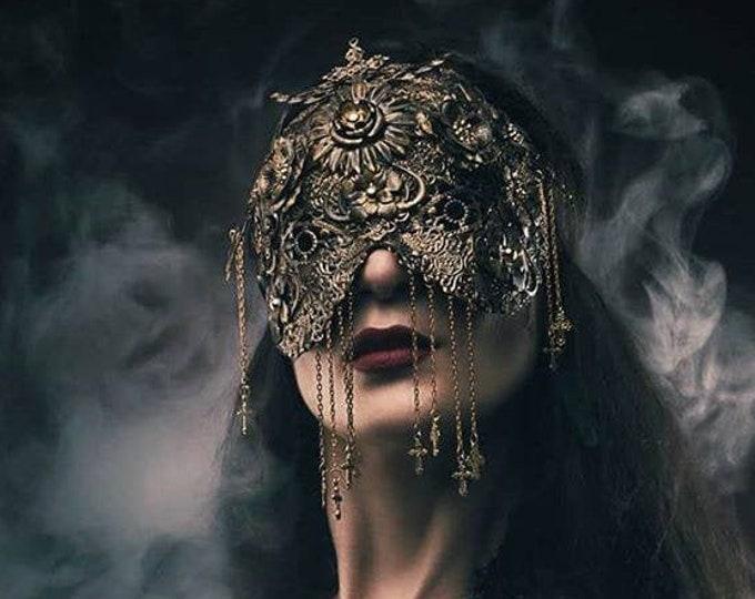"Mask Couture ""Crucified flowers"" blind mask, maske mit Kreuzen, Ketten und Metallblumen, different colours Antique look /MADE TO ORDER"