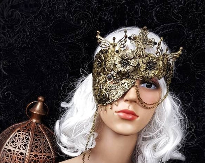 """READY TO SHIP / Blind mask """" cathedral """", half mask, gothic crown, religious, gothic headpiece, fantasy mask"""