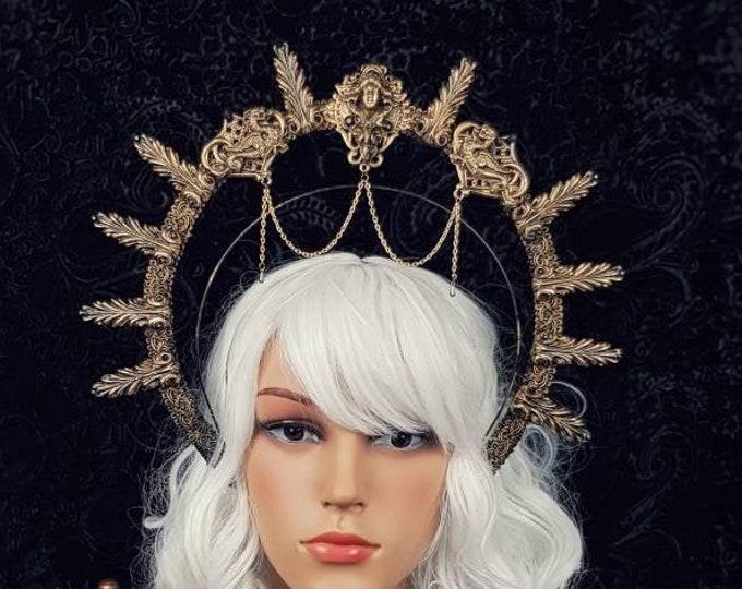 II. Halo Art Nouveau, Heiligenschein, Gothic Crown, gothic headpiece, gothic headdress, holy crown, goth crown, blind mask / Made to order