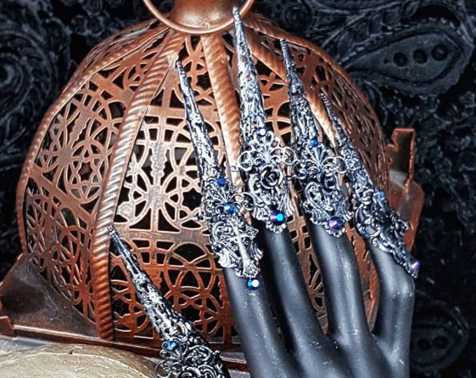 """10 pieces """" Art Nouveau """", Finger claws, metal claws, medusa costume, fantasy, gothic crown, goth headpiece, blind mask / Made to order"""
